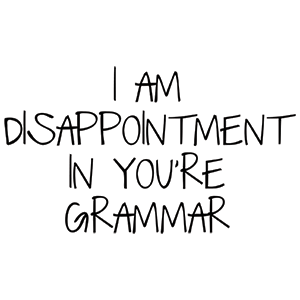 I Am Disappointment In You're Grammar Shirt