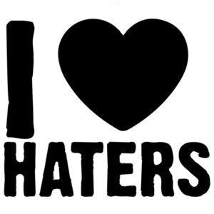 I love (heart) haters - funny t-shirt