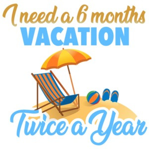 I need a 6 months vacation - twice a year - funny t-shirt