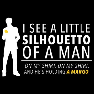 I see a little silhoutto of a man on my shirt on my shirt and he's holding a mango - funny queen Bohemian Rhapsody t-shirt