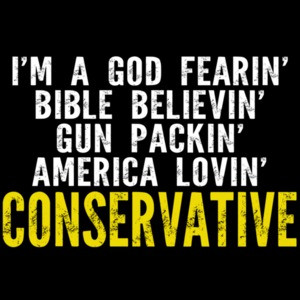 I'm a god fearin' bible believin' gun packin' america lovin' conservative t-shirt