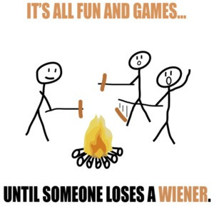 It's all fun and games until someone loses a wiener. Funny T-Shirt