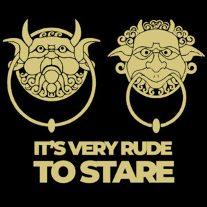 It's very rude to stare - door knockers - Labyrinth 80's T-Shirt