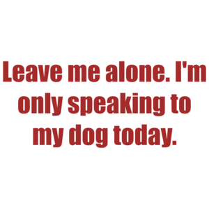 Leave Me Alone. I'm Only Speaking To My Dog Today. Shirt