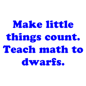 Make little things count. Teach math to dwarfs. Shirt