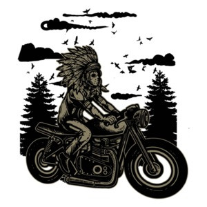 Native American Chief On A Motorcycle T-Shirt