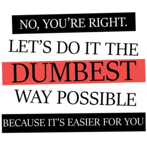 No, you're right. Let's do it the dumbest way possible. funny t-shirt
