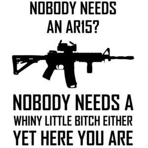 Nobody needs an ar15? Nobody needs a whiny - pro gun t-shirt