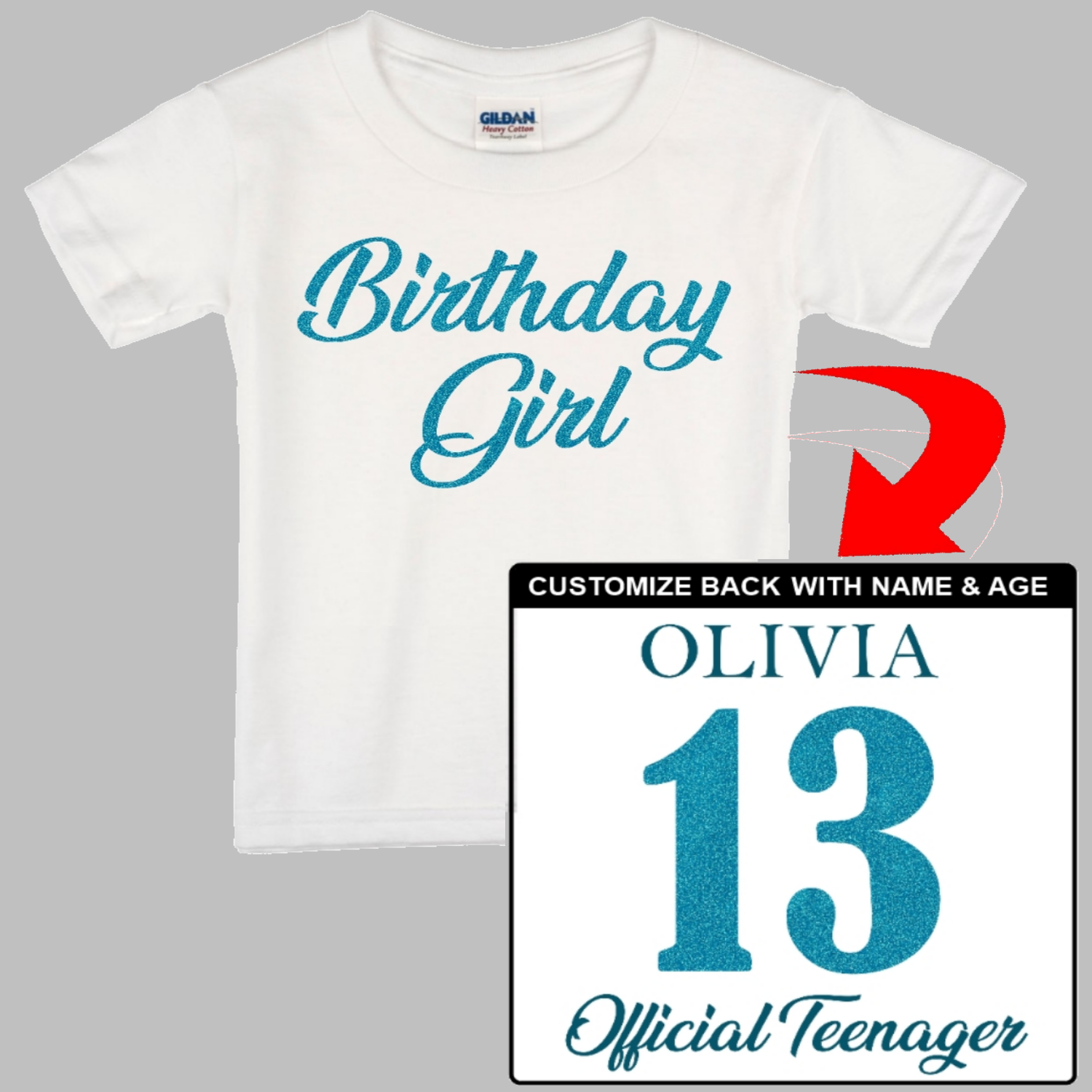 Birthday Girl Shirt - Name, Age, Custom Title - Girl's Happy Birthday. Custom T-Shirt with your girl's name and age on the back. Personalized Birthday T-Shirt