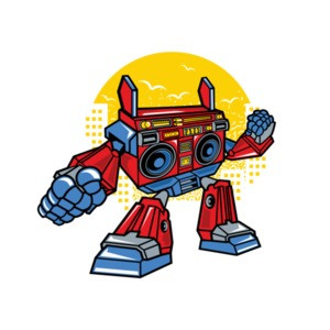 Old School Boombox Robot T-Shirt