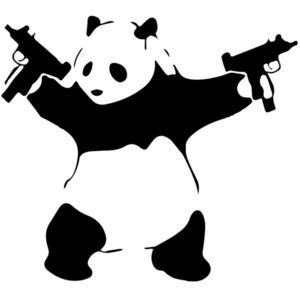 Panda Holding Machine Guns T-Shirt