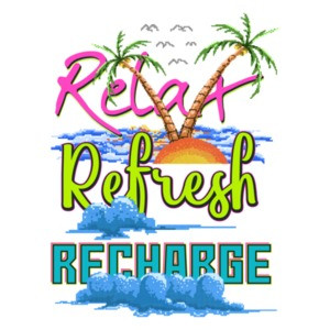Relax Refresh Recharge Retro Vacation T-Shirt