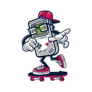Retro Game Boy Gamekid Skating Gaming T-Shirt