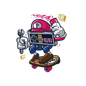 Retro Mario Nintendo Skating Gaming T-Shirt