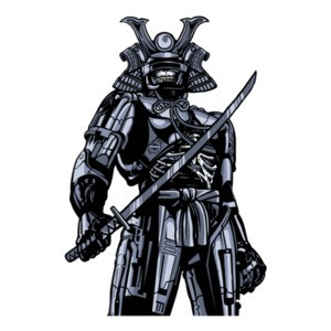 Samurai Skeletal Robot Apocalyptic T-Shirt