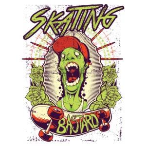 Skating Bastard Zombie Gothic Skating T-Shirt
