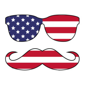Sunglasses And Mustache Flag  - Patriotic T-Shirt