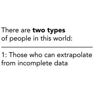 There are two types of people in this world. Those who can extrapulate from incomplete data - funny sarcastic t-shirt