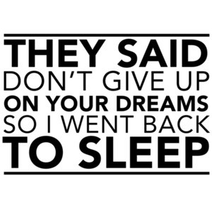 They said don't give up your dreams so I went back to sleep. funny t-shirt