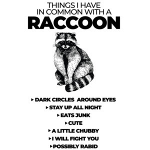 Things I have common with a raccoon - Dark circles around eyes - Stays up all night - funny ladies t-shirt