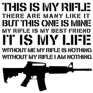 This is my rifle - There are many like it - but this one is mine - my rifle is my best friend - it is my life - without me my rifle is nothing without my rifle I am nothing - Gun T-Shirt - Full Metal Jacket - 80's T-Shirt