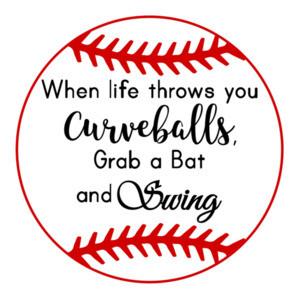 When life throws you curveballs, grab a bat and swing - cute softball t-shirt.