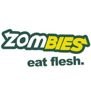 Zombies. Eat Flesh. Subway Parody T-Shirt. Funny Zombie T-Shirt