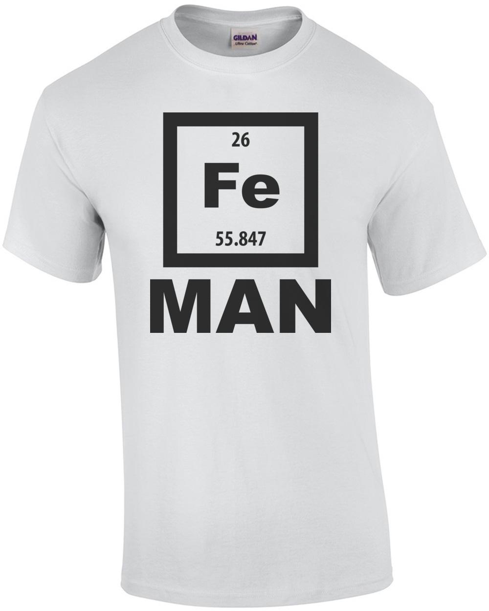 Fe man iron man element periodic table t shirt urtaz Images