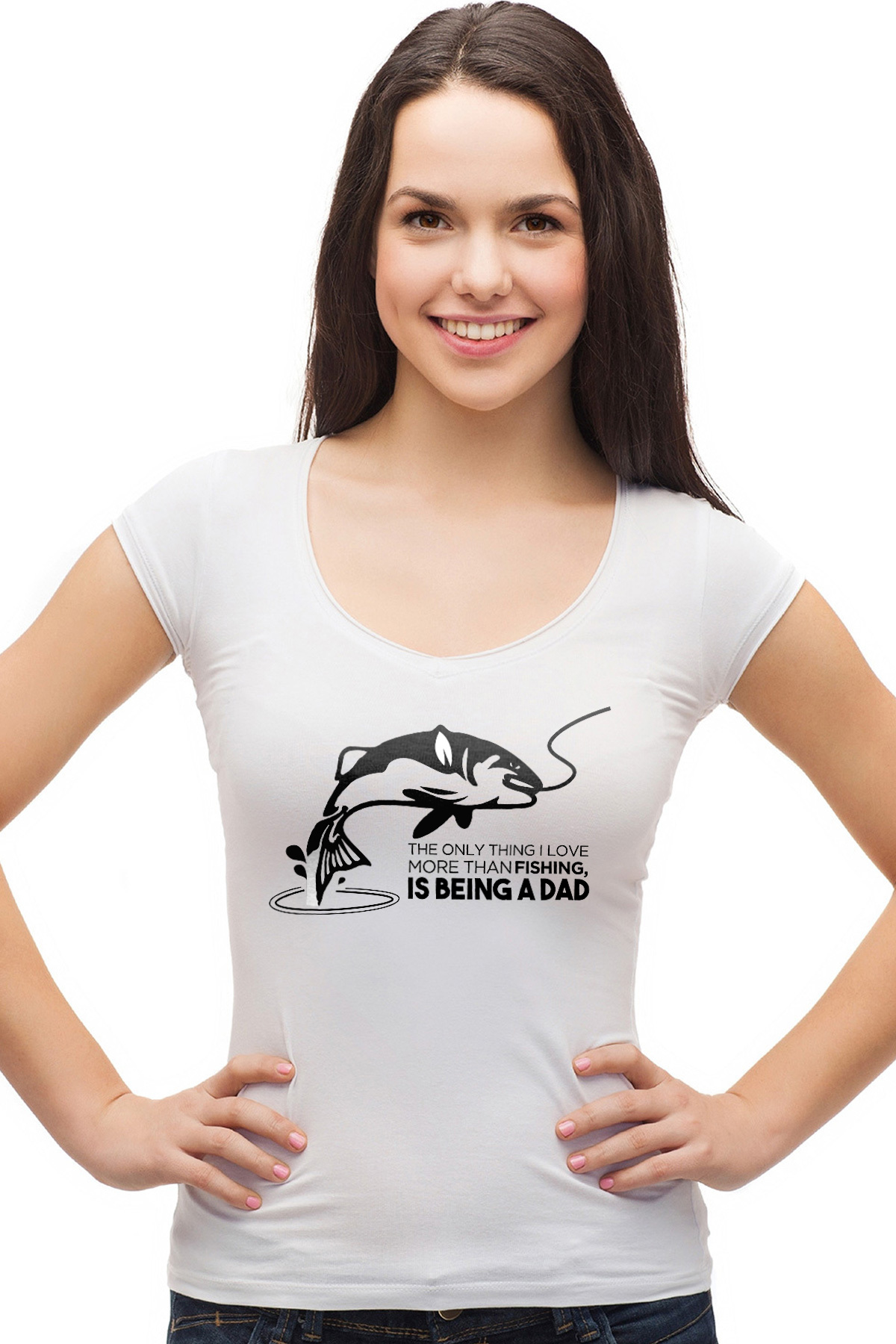 40b1430f The only thing I love more than fishing, is being a dad - funny fishing t- shirt
