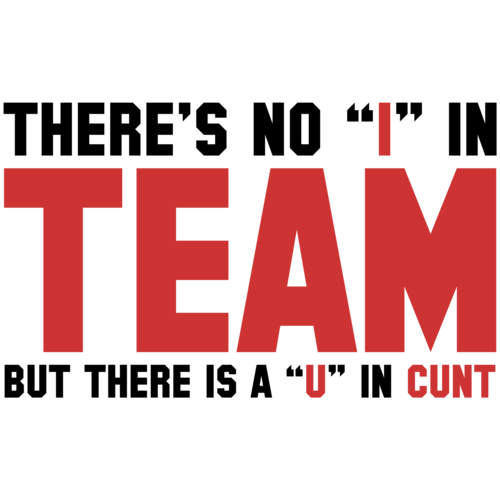 """Motivational Quotes For Sports Teams: There's No """"I"""" In Team, But There's A """"U"""" In Cunt Shirt"""