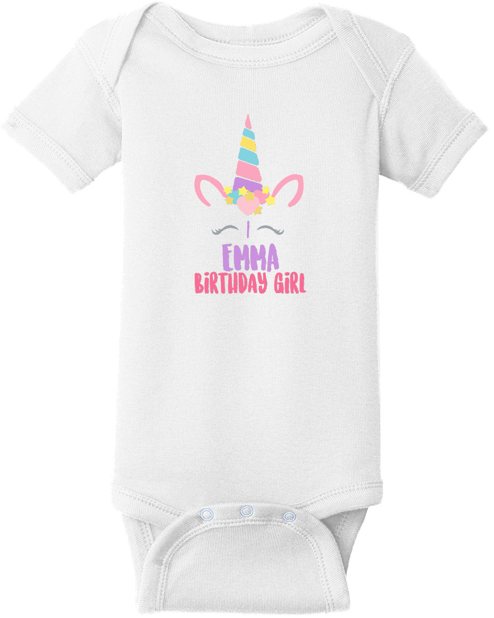 Unicorn Birthday Girl Shirt Girls Happy Custom T With Your Name And Age Personalized