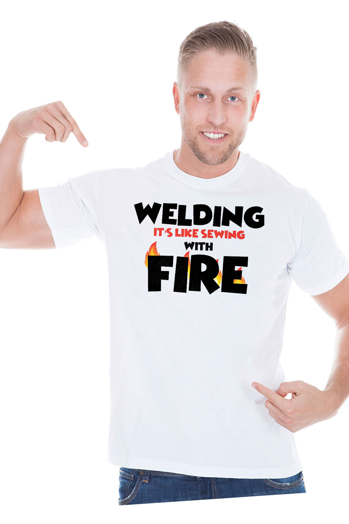 e26988f9 Welding is like sewing with fire - welding shirt - funny welder t-shirt